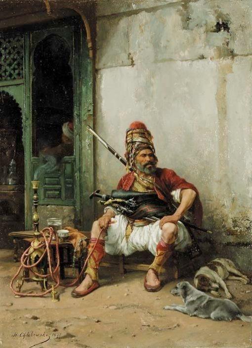Bashi-Bazook with hookah   Stanislaus Poraj Chlebowski   Oil Painting