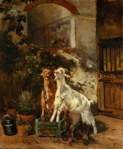 Goats grazing on a rose bush | Filippo Palizzi | Oil Painting