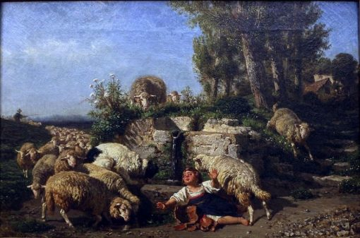 Lambs and Sheep at the Source | Filippo Palizzi | Oil Painting