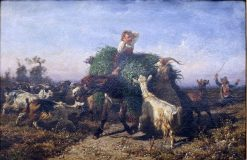 Fennel Cart attacked by Goats | Filippo Palizzi | Oil Painting