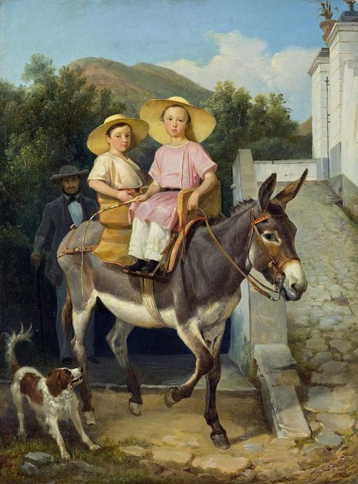 The Raevsky Children on a Donkey   Filippo Palizzi   Oil Painting