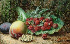 Raspberries on a Cabbage Leaf