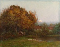 Sunset behind Trees with Pond | Benjamin Haughton | Oil Painting