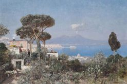 A boy and a donkey on the way to market above the Bay of Naples | Edmund Berninger | Oil Painting