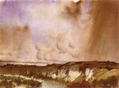 A Bend on the Seine (also known as Cliffs at Petit Andeley)   Sir William Russell Flint   Oil Painting