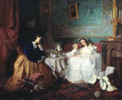 Two Women   Grigory Myasoedov   Oil Painting
