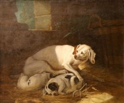 Dog and Puppies | Jean-Baptiste Oudry | Oil Painting