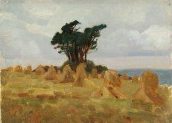 Trees and Cornstooks | Benjamin Haughton | Oil Painting