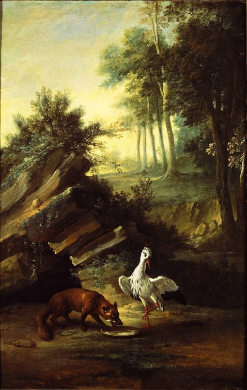 Fox and stork | Jean-Baptiste Oudry | Oil Painting