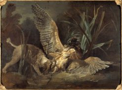 Spaniel Seizing a Bittern | Jean-Baptiste Oudry | Oil Painting