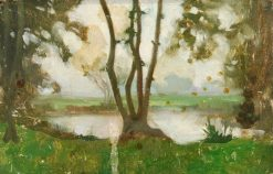 Trees by a Pond | Benjamin Haughton | Oil Painting