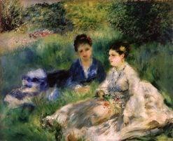 On the Grass (also known as Jeunes femmes assises dans l'herbe) | Pierre Auguste Renoir | Oil Painting