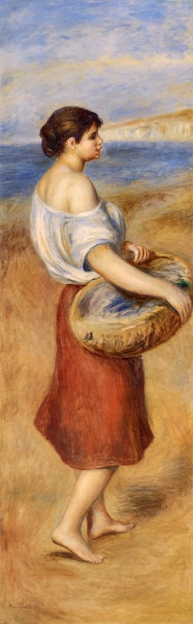 Girl with Basket of Fish (also known as Pêcheuse de poissons) | Pierre Auguste Renoir | Oil Painting