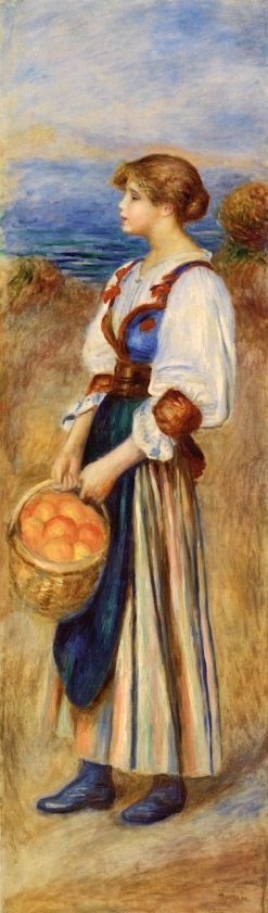 Girl with Basket of Oranges (also known as Marchande d'oranges) | Pierre Auguste Renoir | Oil Painting
