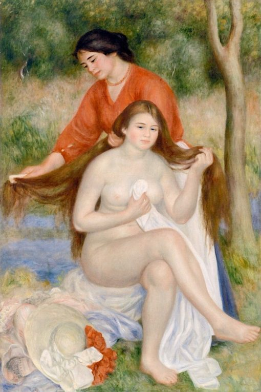 Bather and Maid (also known as La toilette de la baigneuse) | Pierre Auguste Renoir | Oil Painting