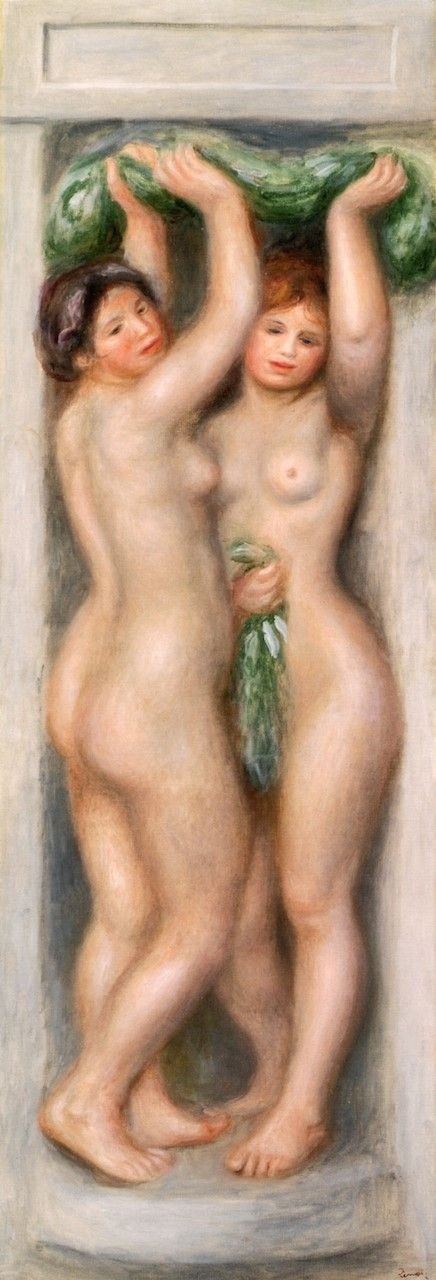 Caryatids (decorative panel) (also known as Two Bathers) | Pierre Auguste Renoir | Oil Painting