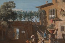 The Courtyard of a Country House | Marco Ricci | Oil Painting