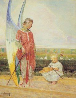 Angel and Little Shepherd | Jacek Malczewski | Oil Painting