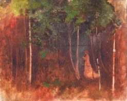 Woman Walking through a Wood   Benjamin Haughton   Oil Painting
