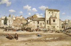 Village street scene   Mariano Barbasan Lagueruela   Oil Painting