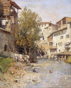 Landscape with a Village on the Outskirts of Rome   Mariano Barbasan Lagueruela   Oil Painting