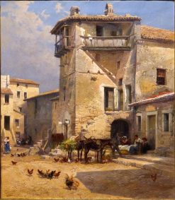 Plaza de Anticoli   Mariano Barbasan Lagueruela   Oil Painting