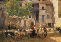 Milking time   Mariano Barbasan Lagueruela   Oil Painting