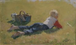 Little Child in the Grass | Bernt Gronvold | Oil Painting