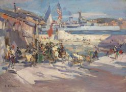 Café in a French Port | Constantin Alexeevich Korovin | Oil Painting