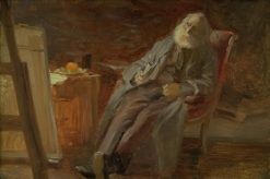 The Painter Vilhelm Kyhn smoking his pipe | Anna Ancher | Oil Painting