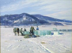Ice cutting at Lillehammer | Peder Mork Mønsted | Oil Painting