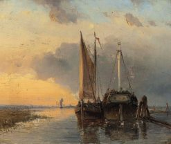 A Harbour on a Dutch River | Johan Barthold Jongkind | Oil Painting