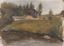 House by the Stream   Leopold Blauensteiner   Oil Painting