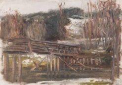 A Wooden Bridge   Leopold Blauensteiner   Oil Painting