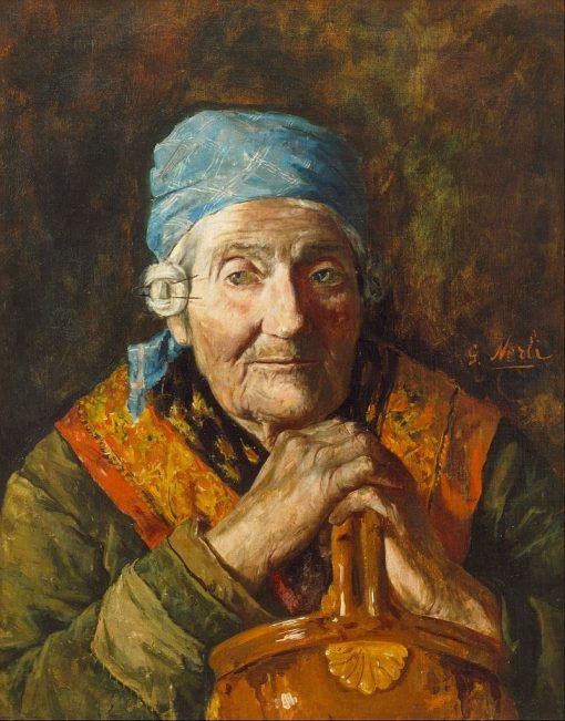 An old woman (study) | Girolamo Pieri Pecci Ballati Nerli | Oil Painting