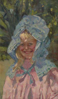 Girl in sunbonnet | Girolamo Pieri Pecci Ballati Nerli | Oil Painting