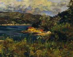 Bay landscape   Girolamo Pieri Pecci Ballati Nerli   Oil Painting