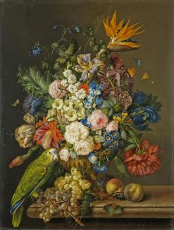 Still Life with Flowers and Parrot | Franz Xavier Petter | Oil Painting