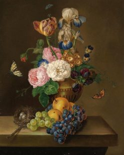 Flowers and fruit with a bird's nest on a ledge | Franz Xavier Petter | Oil Painting