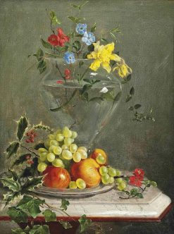 Flowers in a Glass Vase and Fruit on a Dish | Franz Xavier Petter | Oil Painting