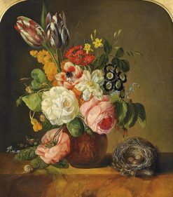 Flowers in a terracota vase with a bird's nest | Franz Xavier Petter | Oil Painting