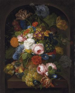 Flowers and Fruit in a Niche | Franz Xavier Petter | Oil Painting