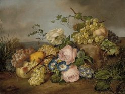 Still Life with Flowers and Fruit in a Landscape | Franz Xavier Petter | Oil Painting