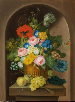 A floral still life with grapes and apples | Franz Xavier Petter | Oil Painting
