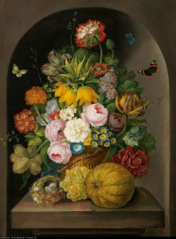 A still life of flowers with fruits and a bird nest | Franz Xavier Petter | Oil Painting
