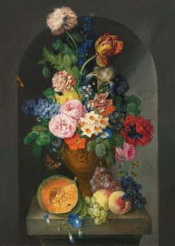 Flower Still Life with Melon and Fruit | Franz Xavier Petter | Oil Painting