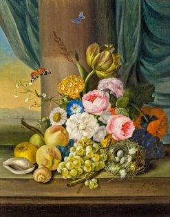 Flowers and fruit with a bird's nest | Franz Xavier Petter | Oil Painting