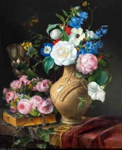 Floral still life with a wreath of roses
