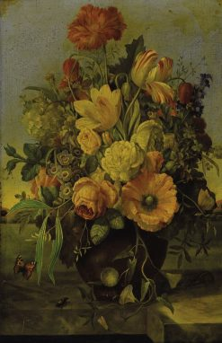 Floral bouquet on a marble ledge | Franz Xavier Petter | Oil Painting