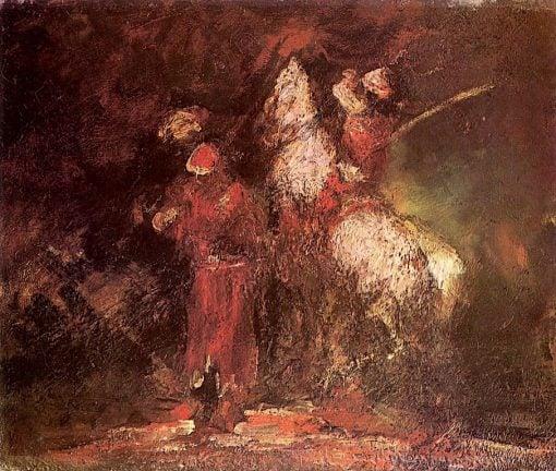 Arab Horseman (also known as Horsemen with White Horse)   Adolphe-Joseph-Thomas Monticelli   Oil Painting
